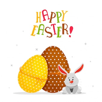 Colorful painted eggs with rabbit on white background