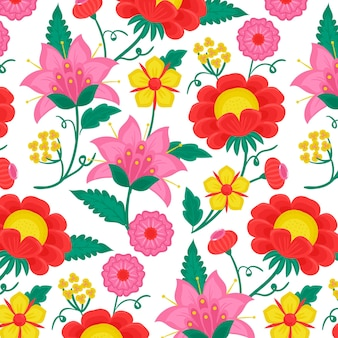 다채로운 그린 된 이국적인 나뭇잎과 꽃 패턴