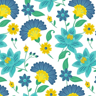 Colorful painted exotic leaves and flowers pattern