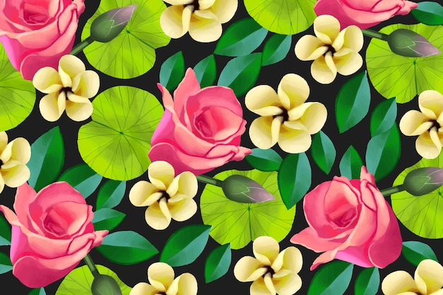 Colorful painted floral background
