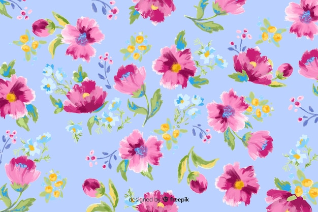 Colorful painted flowers decorative background