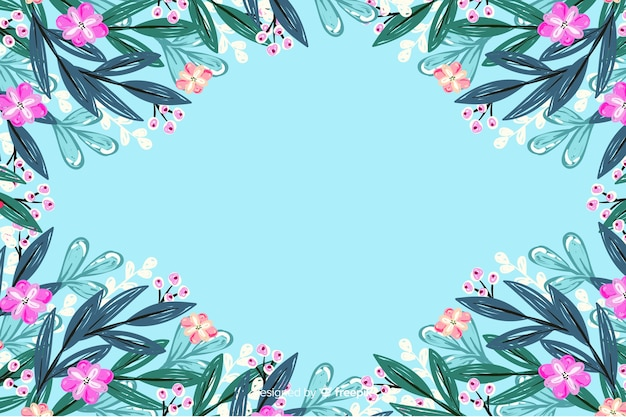 Colorful painted flowers frame background
