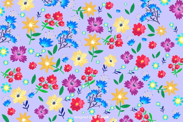 Colorful painted flowers pattern background