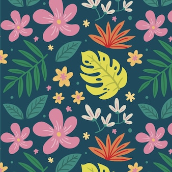 Colorful painted tropical floral pattern