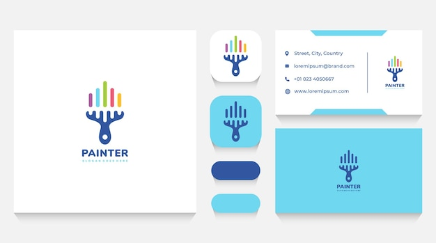 Colorful painting brush logo template and business card