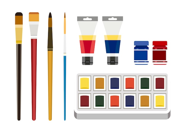 Colorful painting tools isolated on white background