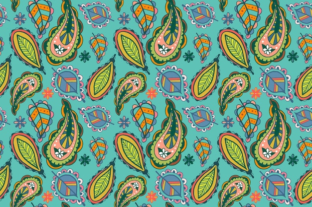 Colorful paisley ethnic pattern