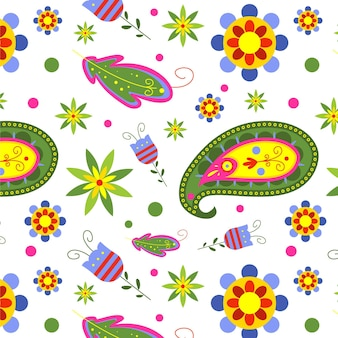 Colorful paisley seamless pattern template on white background