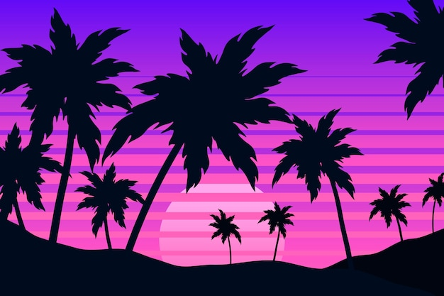 Colorful palm silhouettes background