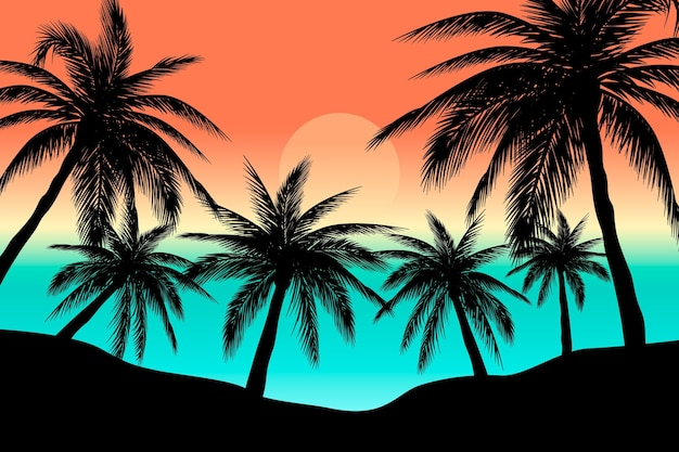 Colorful palm silhouettes design