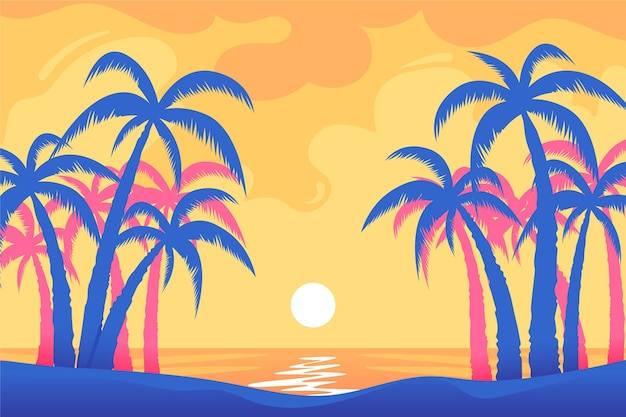 Colorful palm tree silhouettes background