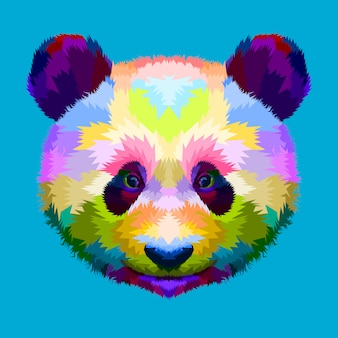 Colorful panda head on geometric pop art style