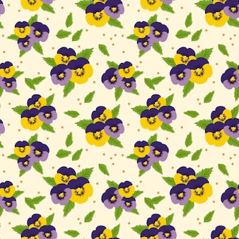 Colorful pansy flowers seamless pattern. sweet flower concept.