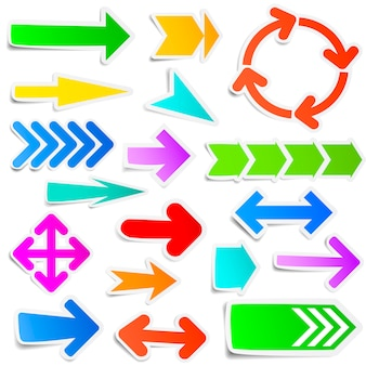 Colorful paper arrow stickers set