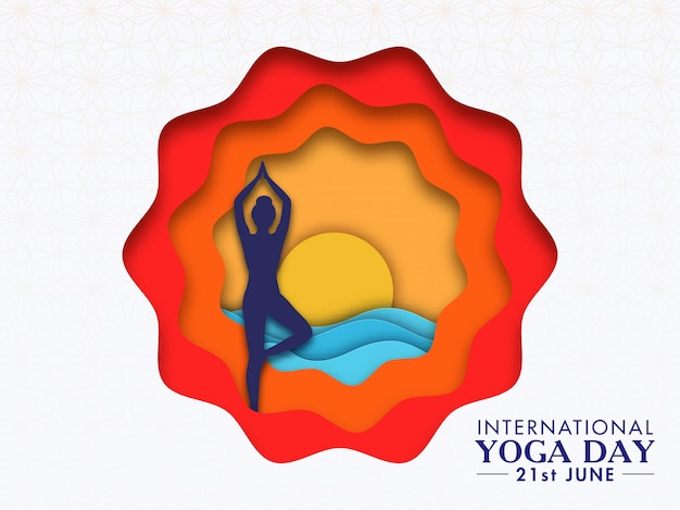 Colorful paper cut abstract background with silhouette woman doing vrikshasana (tree) pose at sunset or sunrise for international yoga day.