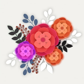Colorful paper flowers and leaves.