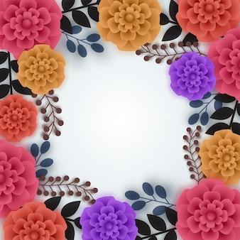 다채로운 종이 꽃, 종이 접기 꽃과 나뭇잎.