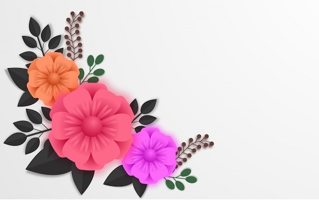 Colorful paper flowers with leaves, abstract background.