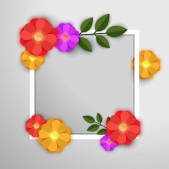 Colorful paper flowers with white frame.