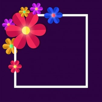 Colorful paper flowers with white square frame on purple background.