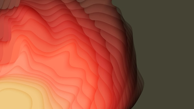Colorful paper layers. 3d abstract gradient papercut.
