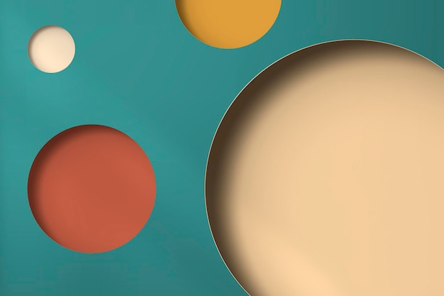 Colorful paper notched out round with drop shadow pattern background