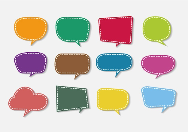 Colorful paper sticky speech bubbles