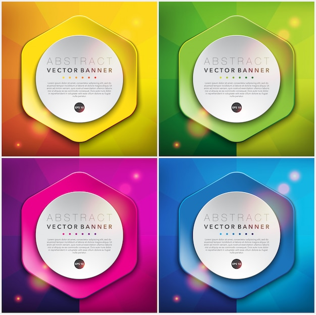 Colorful paper style banners. hexagonal web banners.