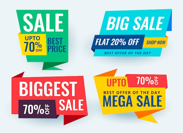 Colorful paper style origami sale banner set
