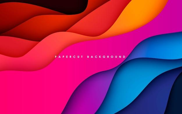다채로운 papercut 배경 물결 모양 차원