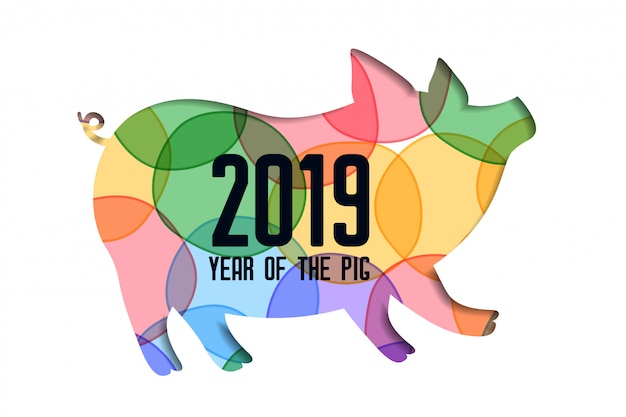 2019年幸せな中国の旧正月のためのカラフルなpapercut豚
