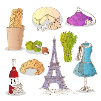Colorful paris elements set