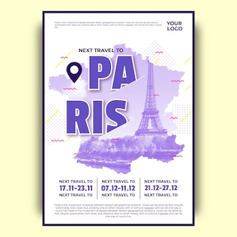 Colorful paris travel poster