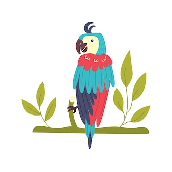 나뭇가지를 들고 다채로운 앵무새