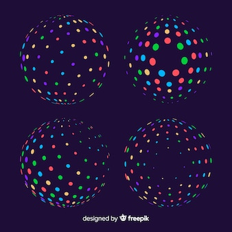 Colorful particle 3d geometric shapes collection