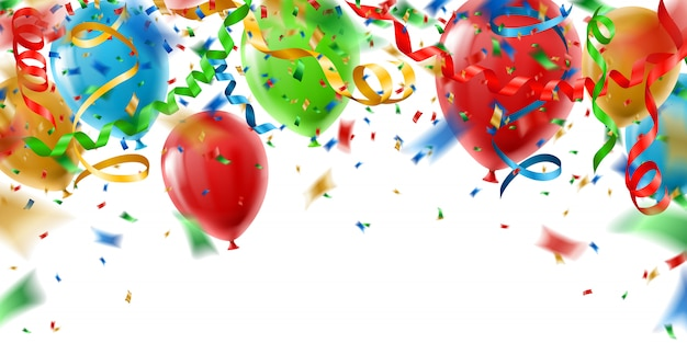 Colorful party background with balloons and confetti