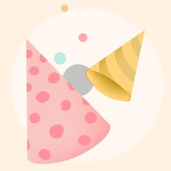 Colorful party hat design vectors