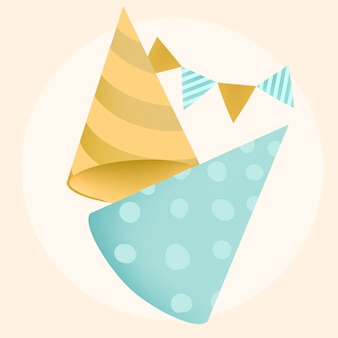 Colorful party hat design vectors