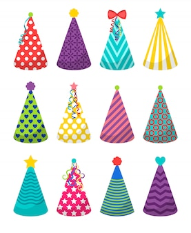 Colorful party hats icons on white