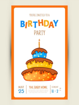Colorful party invitation card with a cake on a white background. celebration event happy birthday. multicolored. vector