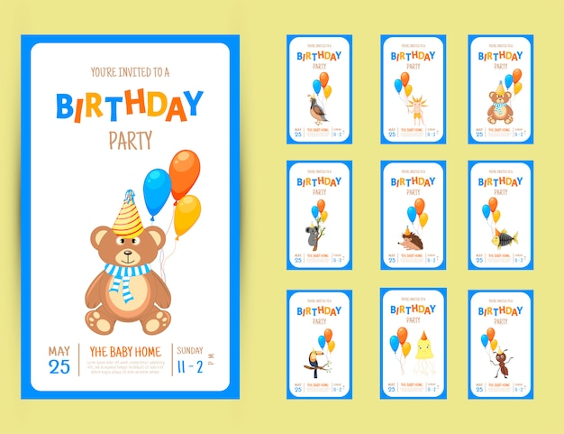 Colorful party invitation card with a cute animals
