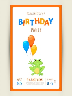 Colorful party invitation card with a cute frog on a white background. celebration event happy birthday. multicolored. vector