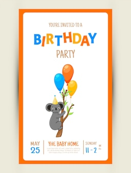 Colorful party invitation card with a cute koala on a white background. celebration event happy birthday. multicolored. vector.