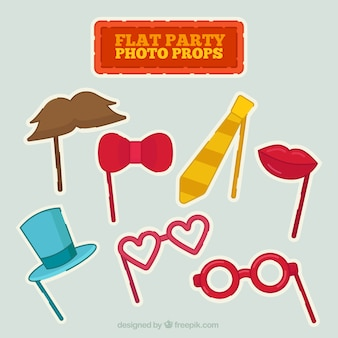 Puntelli del partito photo colorate in design piatto