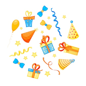 Colorful party set of items on white celebration event & happy birthday. multicolored. vector