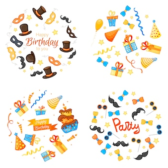 Colorful party set of items on white