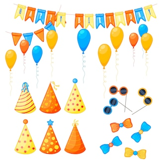Красочный партийный набор предметов на белом фоне. празднование дня рождения. разноцветный. вектор.