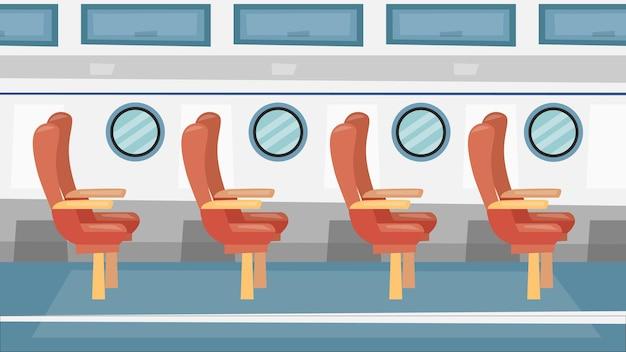 Красочный интерьер самолета passanger с окнами и пассажирскими сиденьями. мультяшный плоский стиль.