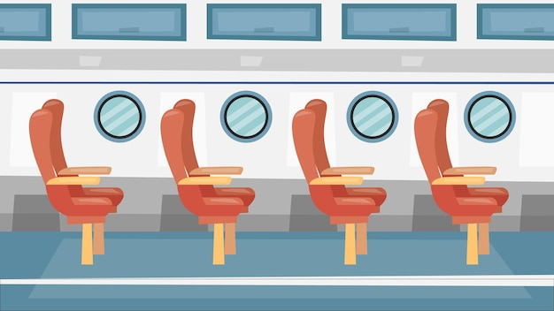 Colorful passanger airplane interior with windows and passenger seats. cartoon flat style.