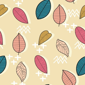Colorful pastel autumn leaves seamless pattern